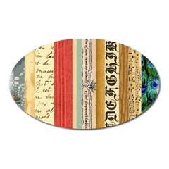 Digitally Created Collage Pattern Made Up Of Patterned Stripes Oval Magnet