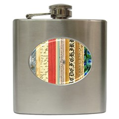 Digitally Created Collage Pattern Made Up Of Patterned Stripes Hip Flask (6 Oz)