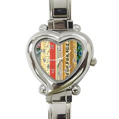 Digitally Created Collage Pattern Made Up Of Patterned Stripes Heart Italian Charm Watch