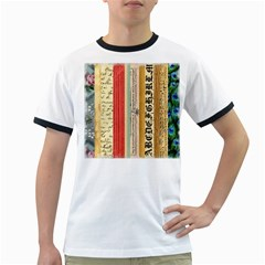 Digitally Created Collage Pattern Made Up Of Patterned Stripes Ringer T Shirts
