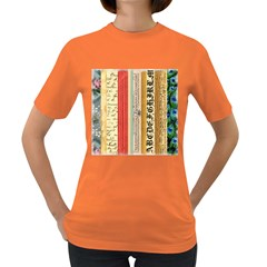 Digitally Created Collage Pattern Made Up Of Patterned Stripes Women s Dark T Shirt