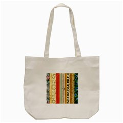 Digitally Created Collage Pattern Made Up Of Patterned Stripes Tote Bag (cream)