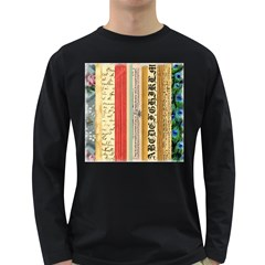 Digitally Created Collage Pattern Made Up Of Patterned Stripes Long Sleeve Dark T Shirts