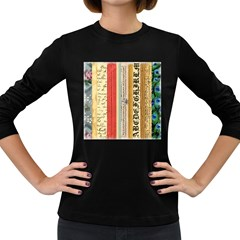Digitally Created Collage Pattern Made Up Of Patterned Stripes Women s Long Sleeve Dark T Shirts