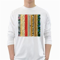 Digitally Created Collage Pattern Made Up Of Patterned Stripes White Long Sleeve T Shirts