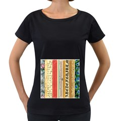 Digitally Created Collage Pattern Made Up Of Patterned Stripes Women s Loose-Fit T-Shirt (Black)