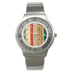 Digitally Created Collage Pattern Made Up Of Patterned Stripes Stainless Steel Watch