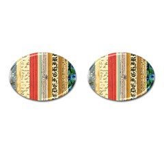 Digitally Created Collage Pattern Made Up Of Patterned Stripes Cufflinks (Oval)
