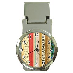Digitally Created Collage Pattern Made Up Of Patterned Stripes Money Clip Watches