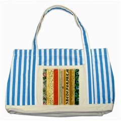 Digitally Created Collage Pattern Made Up Of Patterned Stripes Striped Blue Tote Bag