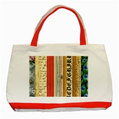 Digitally Created Collage Pattern Made Up Of Patterned Stripes Classic Tote Bag (red)