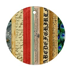 Digitally Created Collage Pattern Made Up Of Patterned Stripes Round Ornament (two Sides)