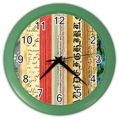 Digitally Created Collage Pattern Made Up Of Patterned Stripes Color Wall Clocks