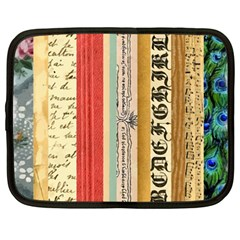 Digitally Created Collage Pattern Made Up Of Patterned Stripes Netbook Case (large)
