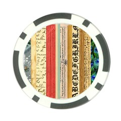Digitally Created Collage Pattern Made Up Of Patterned Stripes Poker Chip Card Guard (10 Pack)