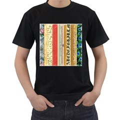 Digitally Created Collage Pattern Made Up Of Patterned Stripes Men s T Shirt (black)