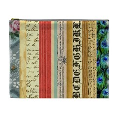 Digitally Created Collage Pattern Made Up Of Patterned Stripes Cosmetic Bag (xl)