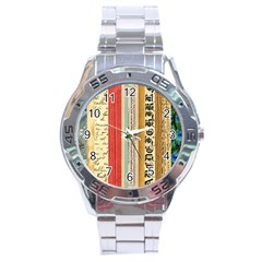 Digitally Created Collage Pattern Made Up Of Patterned Stripes Stainless Steel Analogue Watch