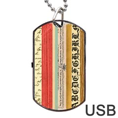 Digitally Created Collage Pattern Made Up Of Patterned Stripes Dog Tag USB Flash (Two Sides)