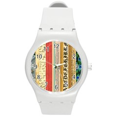 Digitally Created Collage Pattern Made Up Of Patterned Stripes Round Plastic Sport Watch (M)