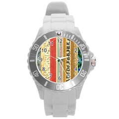 Digitally Created Collage Pattern Made Up Of Patterned Stripes Round Plastic Sport Watch (l)