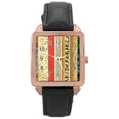 Digitally Created Collage Pattern Made Up Of Patterned Stripes Rose Gold Leather Watch