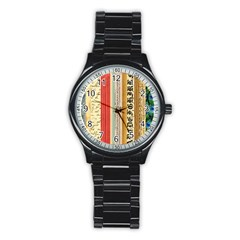 Digitally Created Collage Pattern Made Up Of Patterned Stripes Stainless Steel Round Watch