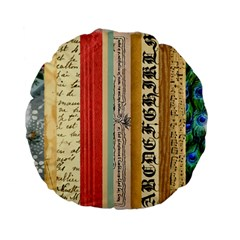 Digitally Created Collage Pattern Made Up Of Patterned Stripes Standard 15  Premium Flano Round Cushions