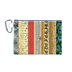 Digitally Created Collage Pattern Made Up Of Patterned Stripes Canvas Cosmetic Bag (M)