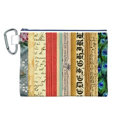 Digitally Created Collage Pattern Made Up Of Patterned Stripes Canvas Cosmetic Bag (l)