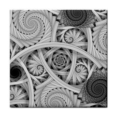 Fractal Wallpaper Black N White Chaos Tile Coasters
