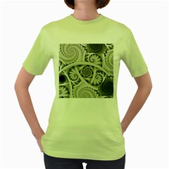 Fractal Wallpaper Black N White Chaos Women s Green T-Shirt