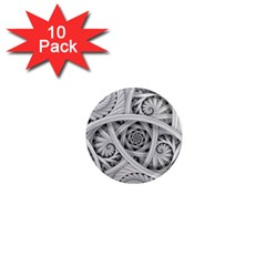 Fractal Wallpaper Black N White Chaos 1  Mini Magnet (10 pack)