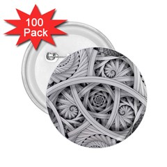 Fractal Wallpaper Black N White Chaos 2 25  Buttons (100 Pack)