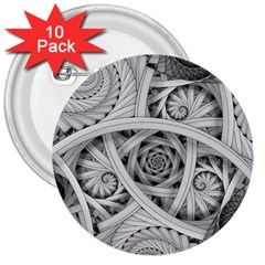 Fractal Wallpaper Black N White Chaos 3  Buttons (10 Pack)