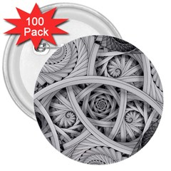 Fractal Wallpaper Black N White Chaos 3  Buttons (100 Pack)