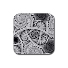 Fractal Wallpaper Black N White Chaos Rubber Square Coaster (4 Pack)
