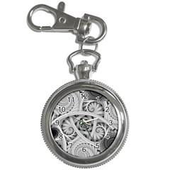Fractal Wallpaper Black N White Chaos Key Chain Watches