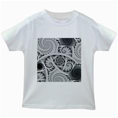 Fractal Wallpaper Black N White Chaos Kids White T-Shirts