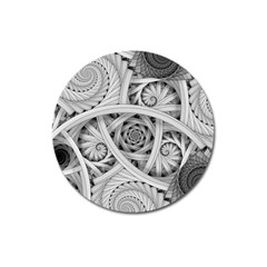 Fractal Wallpaper Black N White Chaos Magnet 3  (round)