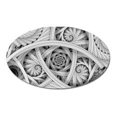Fractal Wallpaper Black N White Chaos Oval Magnet