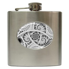 Fractal Wallpaper Black N White Chaos Hip Flask (6 Oz)