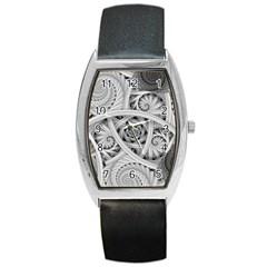 Fractal Wallpaper Black N White Chaos Barrel Style Metal Watch
