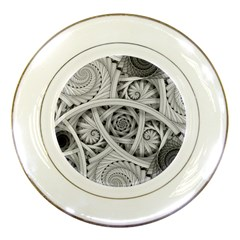Fractal Wallpaper Black N White Chaos Porcelain Plates