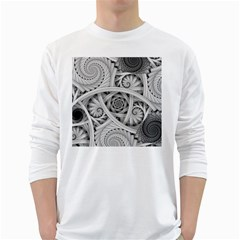 Fractal Wallpaper Black N White Chaos White Long Sleeve T Shirts