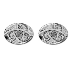 Fractal Wallpaper Black N White Chaos Cufflinks (Oval)
