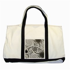 Fractal Wallpaper Black N White Chaos Two Tone Tote Bag