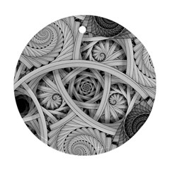 Fractal Wallpaper Black N White Chaos Round Ornament (two Sides)