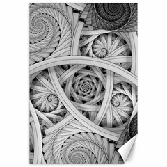 Fractal Wallpaper Black N White Chaos Canvas 24  X 36