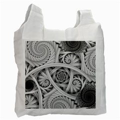 Fractal Wallpaper Black N White Chaos Recycle Bag (One Side)